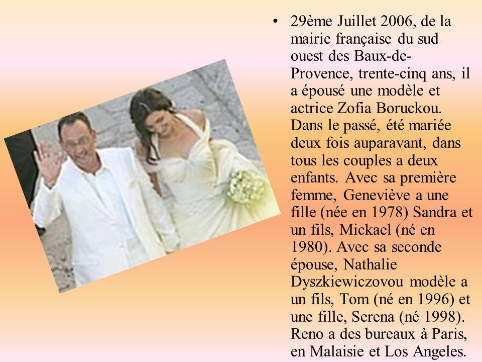29ème Juillet 2006, de la mairie française du sud ouest des Baux-de- Provence, trente-cinq ans, il a épousé une modèle et actrice Zofia Boruckou. Dans