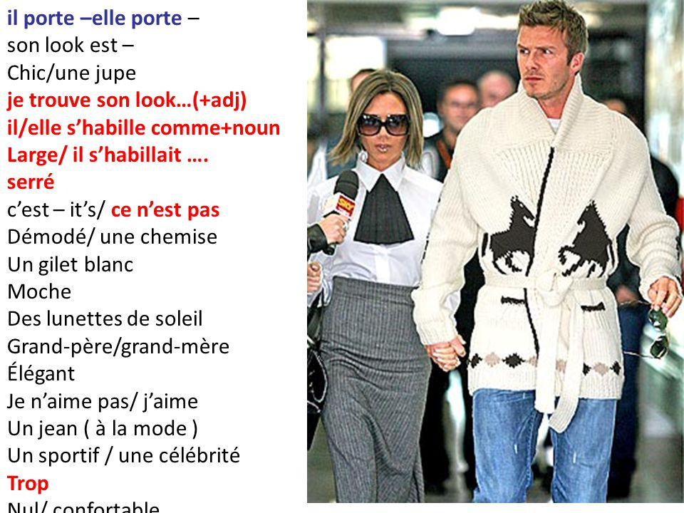 il porte –elle porte – son look est – Chic/une jupe je trouve son look…(+adj) il/elle s'habille comme+noun Large/ il s'habillait …. serré c'est – it's
