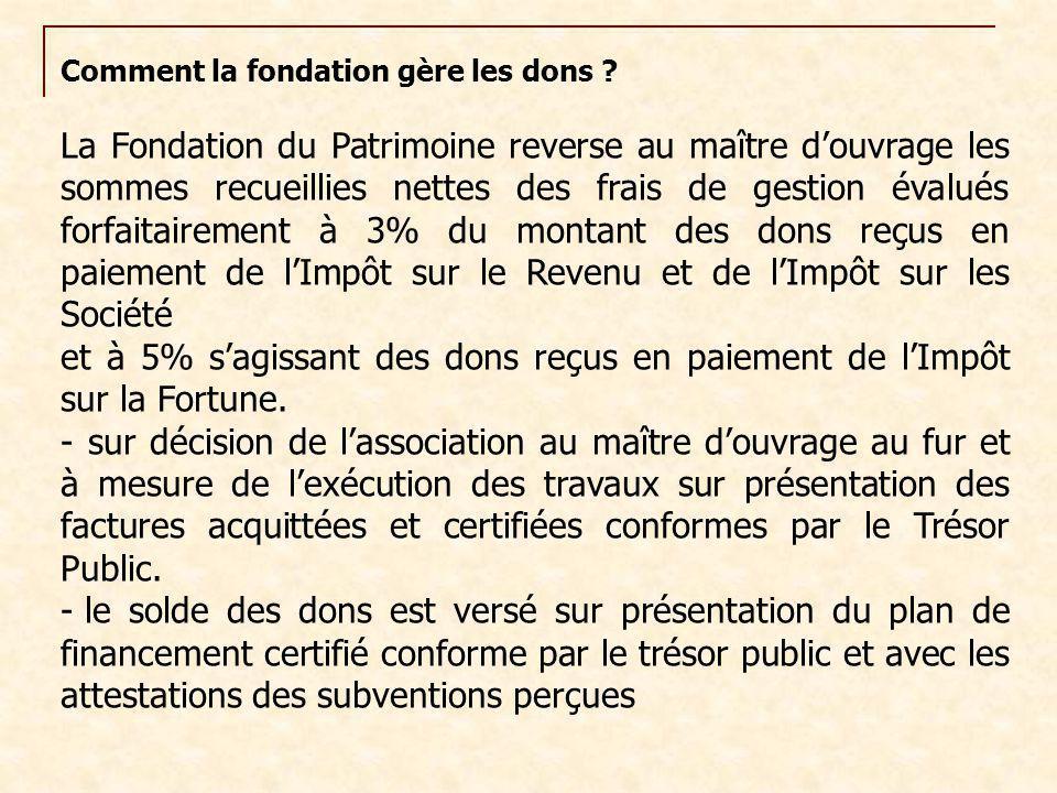 Comment la fondation gère les dons ? La Fondation du Patrimoine reverse au maître d'ouvrage les sommes recueillies nettes des frais de gestion évalués