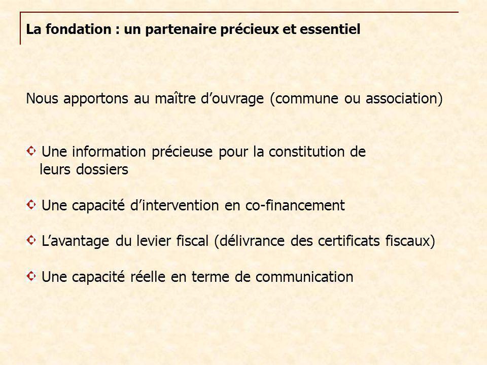 La fondation : un partenaire précieux et essentiel Nous apportons au maître d'ouvrage (commune ou association) Une information précieuse pour la const