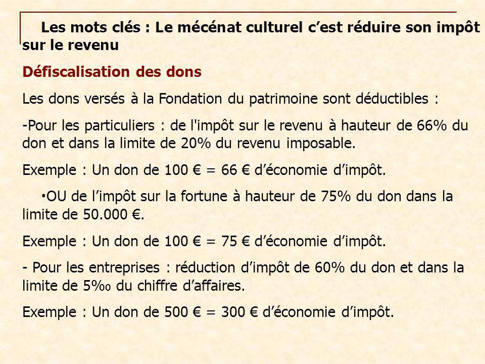 Les mots clés : Le mécénat culturel c'est réduire son impôt sur le revenu Défiscalisation des dons Les dons versés à la Fondation du patrimoine sont d