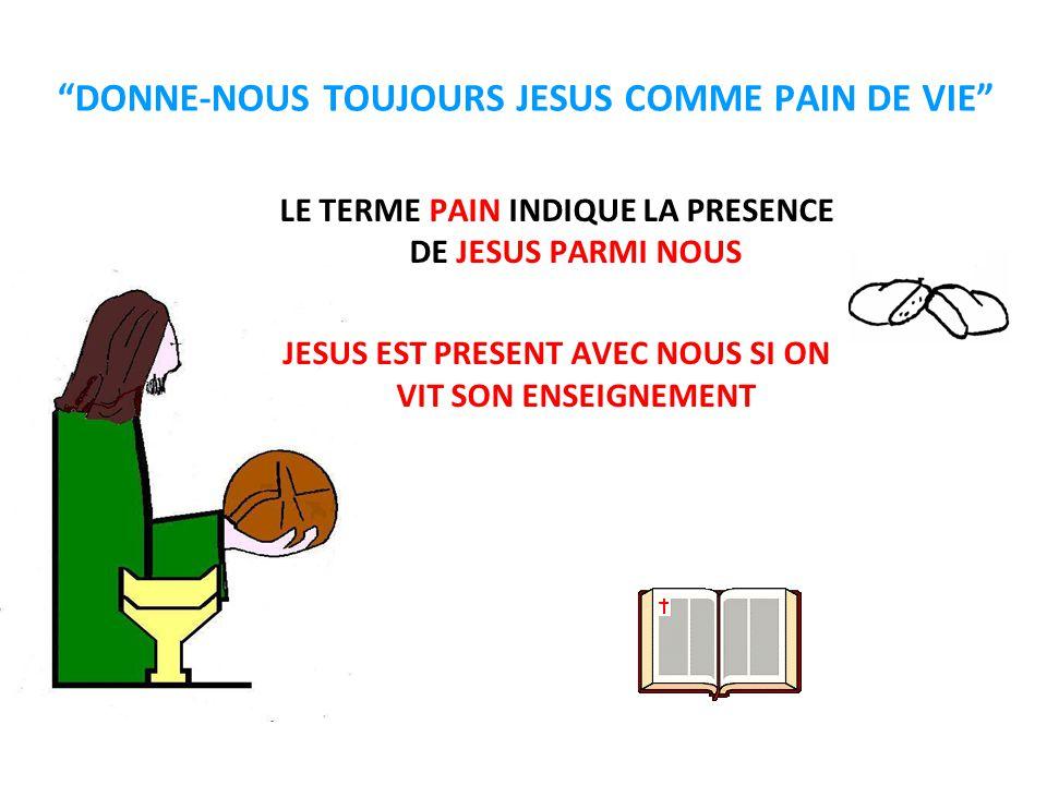 """""""DONNE-NOUS TOUJOURS JESUS COMME PAIN DE VIE"""" LE TERME PAIN INDIQUE LA PRESENCE DE JESUS PARMI NOUS JESUS EST PRESENT AVEC NOUS SI ON VIT SON ENSEIGNE"""