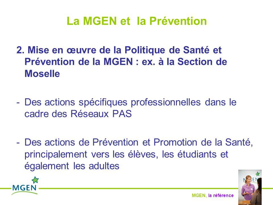 MGEN, la référence La MGEN et la Prévention Mutuelle Générale de l'Education Nationale Section de Moselle Rue de la Passotte 57081 METZ CEDEX 03
