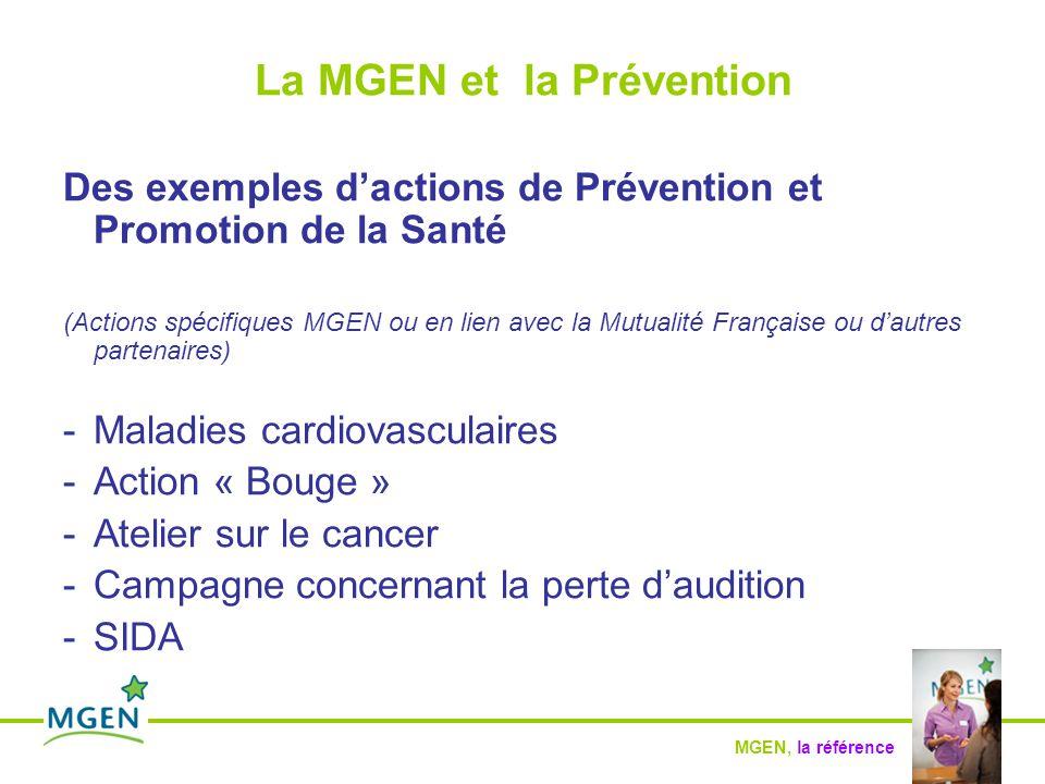 MGEN, la référence La MGEN et la Prévention Des exemples d'actions de Prévention et Promotion de la Santé (Actions spécifiques MGEN ou en lien avec la Mutualité Française ou d'autres partenaires) -Maladies cardiovasculaires -Action « Bouge » -Atelier sur le cancer -Campagne concernant la perte d'audition -SIDA