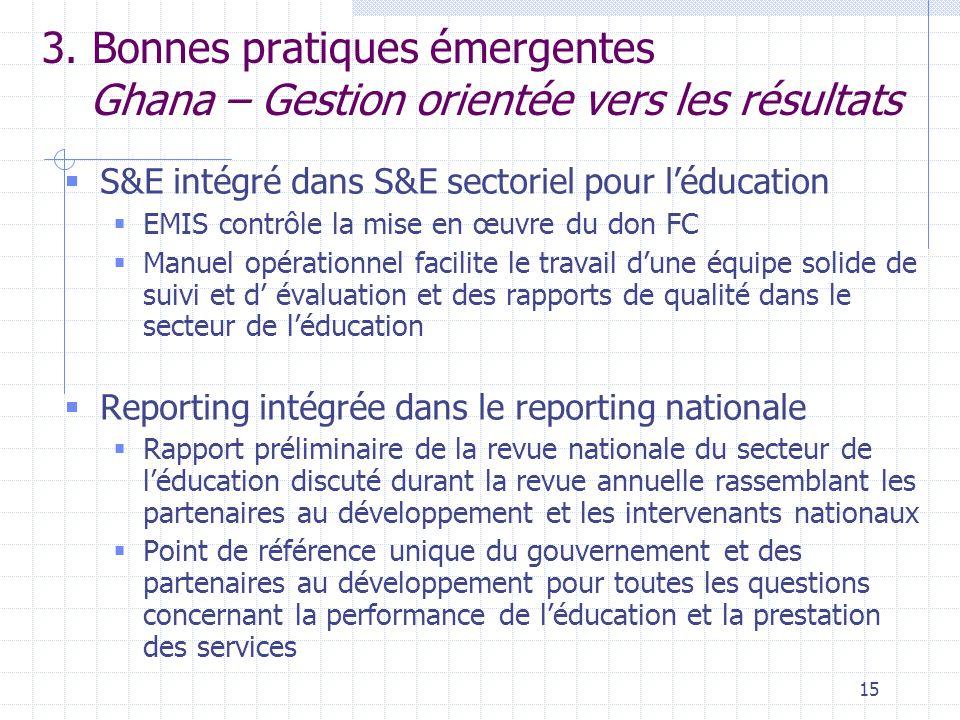 15 3. Bonnes pratiques émergentes Ghana – Gestion orientée vers les résultats  S&E intégré dans S&E sectoriel pour l'éducation  EMIS contrôle la mis