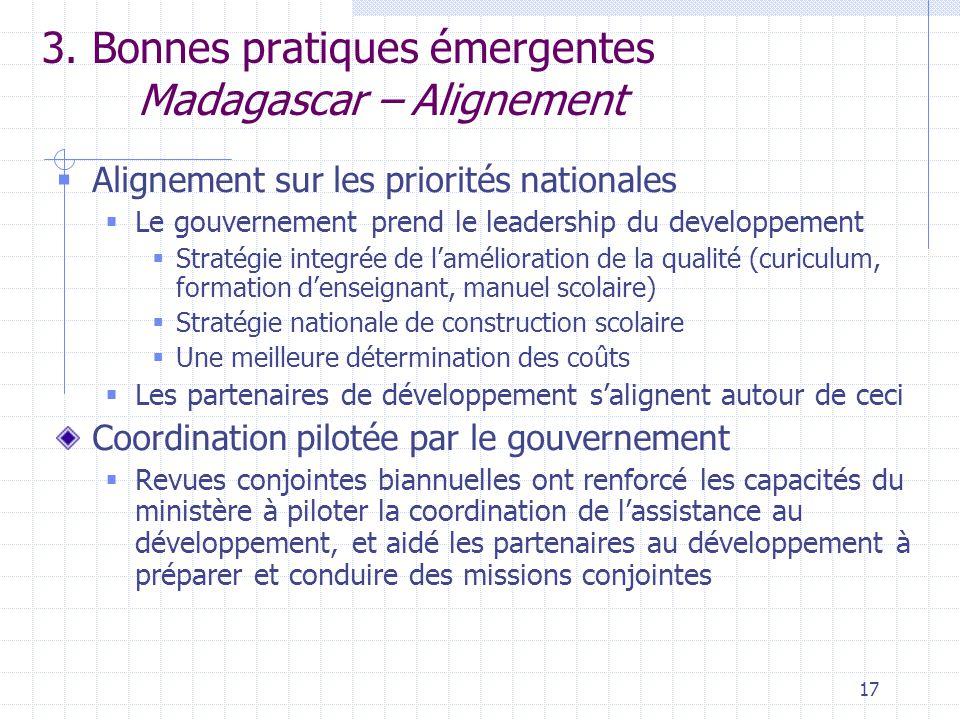 17 3. Bonnes pratiques émergentes Madagascar – Alignement  Alignement sur les priorités nationales  Le gouvernement prend le leadership du developpe