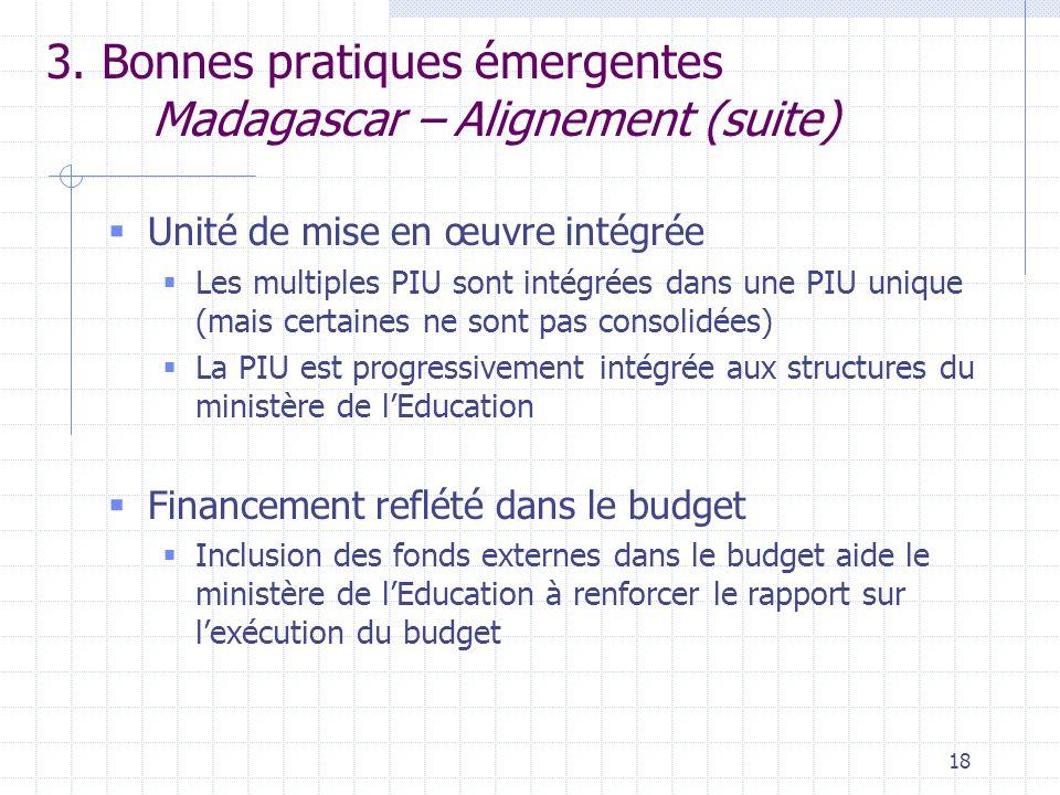 18 3. Bonnes pratiques émergentes Madagascar – Alignement (suite)  Unité de mise en œuvre intégrée  Les multiples PIU sont intégrées dans une PIU un