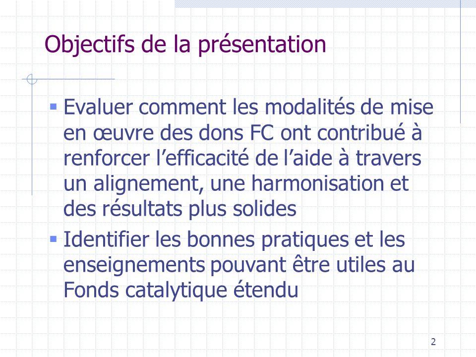 2 Objectifs de la présentation  Evaluer comment les modalités de mise en œuvre des dons FC ont contribué à renforcer l'efficacité de l'aide à travers un alignement, une harmonisation et des résultats plus solides  Identifier les bonnes pratiques et les enseignements pouvant être utiles au Fonds catalytique étendu