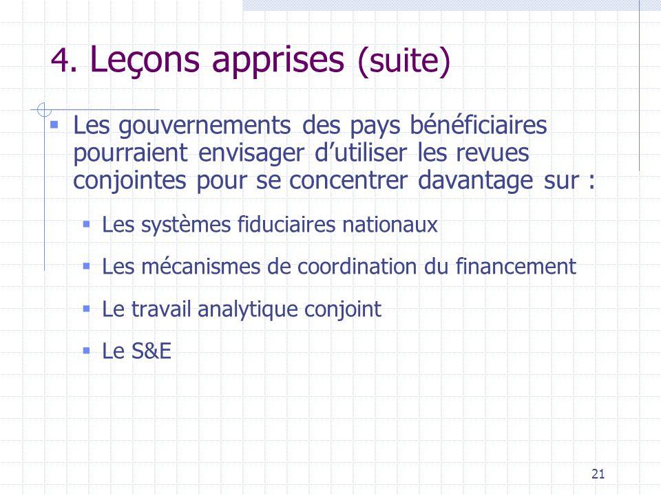 21 4. Leçons apprises (suite)  Les gouvernements des pays bénéficiaires pourraient envisager d'utiliser les revues conjointes pour se concentrer dava
