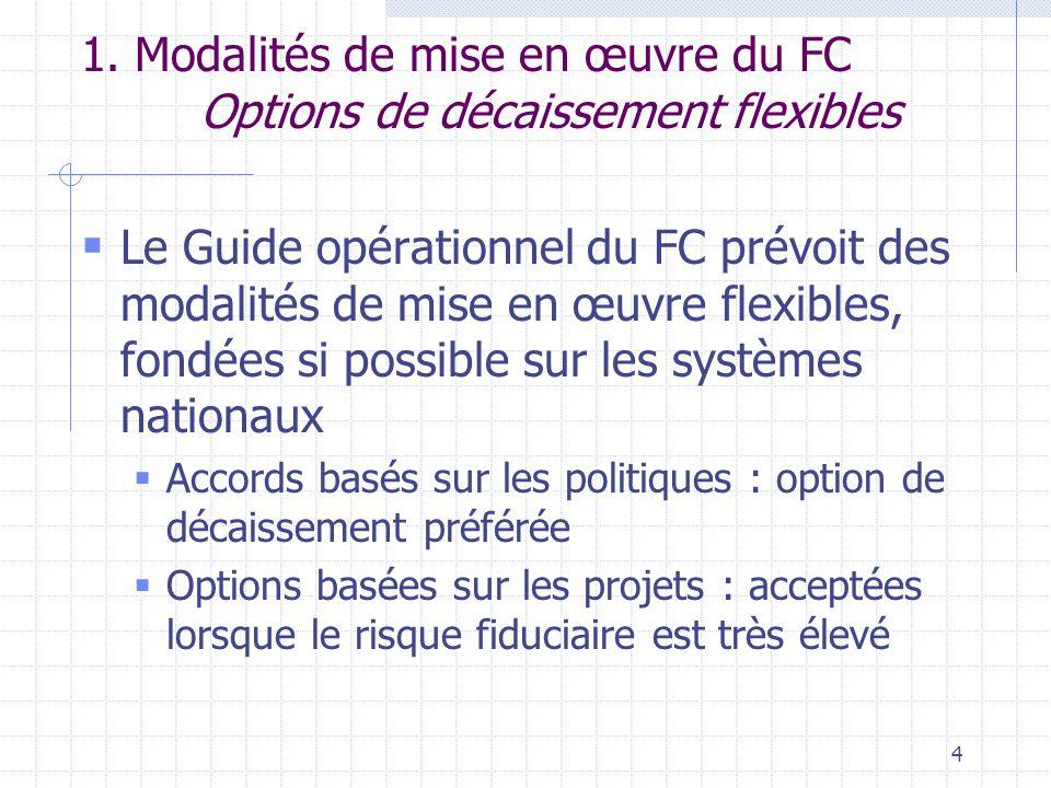 4  Le Guide opérationnel du FC prévoit des modalités de mise en œuvre flexibles, fondées si possible sur les systèmes nationaux  Accords basés sur les politiques : option de décaissement préférée  Options basées sur les projets : acceptées lorsque le risque fiduciaire est très élevé 1.