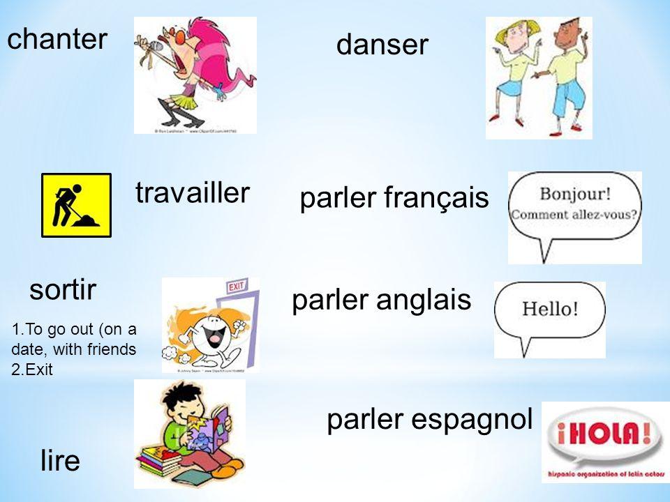 parler français parler anglais parler espagnol travailler danser chanter lire sortir 1.To go out (on a date, with friends 2.Exit