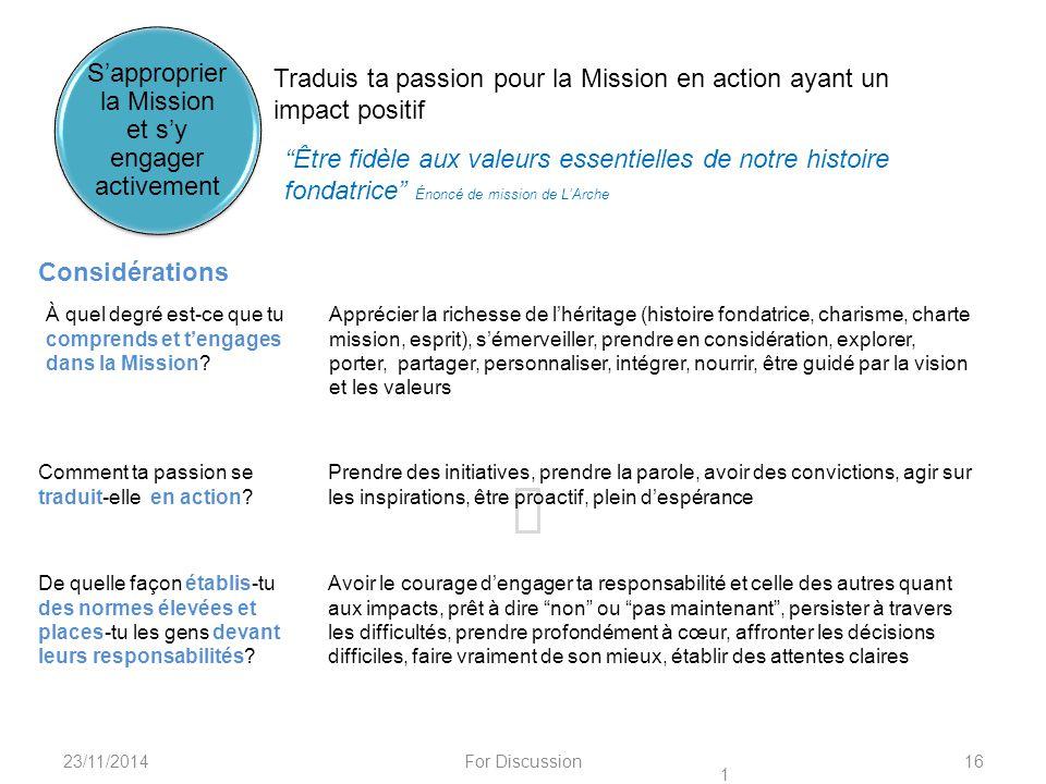 """23/11/2014For Discussion16 Traduis ta passion pour la Mission en action ayant un impact positif """"Être fidèle aux valeurs essentielles de notre histoir"""