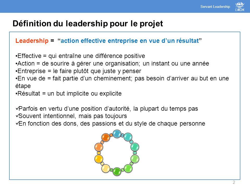 """2 Définition du leadership pour le projet Servant Leadership Leadership = """"action effective entreprise en vue d'un résultat"""" Effective = qui entraîne"""