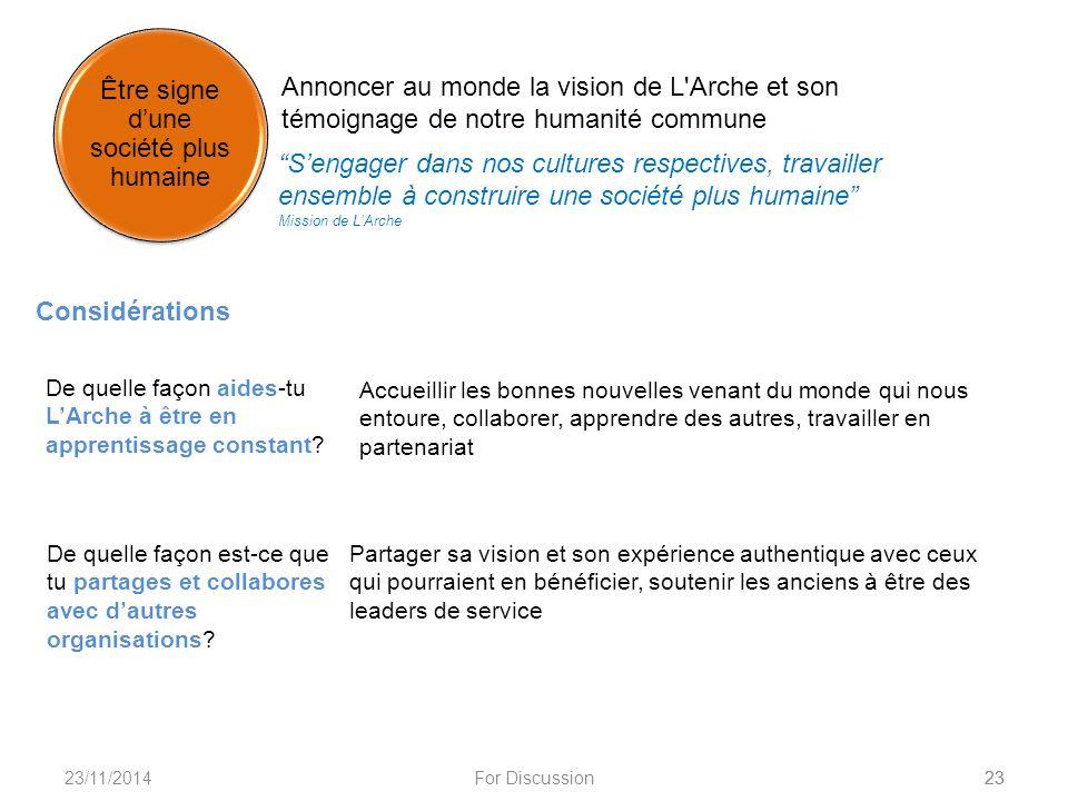 """23/11/2014For Discussion23 Annoncer au monde la vision de L'Arche et son témoignage de notre humanité commune """"S'engager dans nos cultures respectives"""