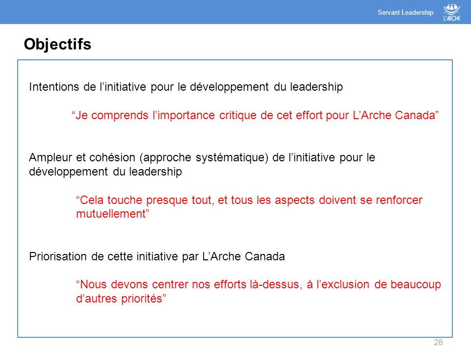 "28 Objectifs Servant Leadership Intentions de l'initiative pour le développement du leadership ""Je comprends l'importance critique de cet effort pour"
