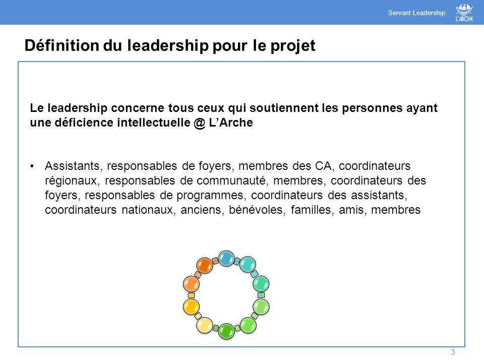 3 Définition du leadership pour le projet Servant Leadership Le leadership concerne tous ceux qui soutiennent les personnes ayant une déficience intel