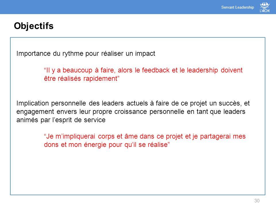 """30 Objectifs Servant Leadership Importance du rythme pour réaliser un impact """"Il y a beaucoup à faire, alors le feedback et le leadership doivent être"""