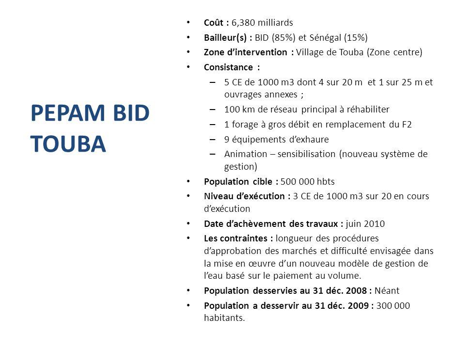 PEPAM BID TOUBA Coût : 6,380 milliards Bailleur(s) : BID (85%) et Sénégal (15%) Zone d'intervention : Village de Touba (Zone centre) Consistance : – 5