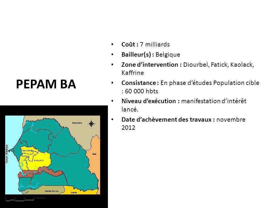 PEPAM BA Coût : 7 milliards Bailleur(s) : Belgique Zone d'intervention : Diourbel, Fatick, Kaolack, Kaffrine Consistance : En phase d'études Populatio