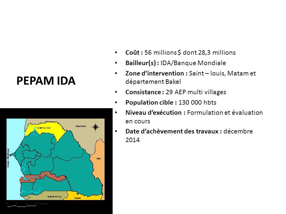 PEPAM IDA Coût : 56 millions $ dont 28,3 millions Bailleur(s) : IDA/Banque Mondiale Zone d'intervention : Saint – louis, Matam et département Bakel Co