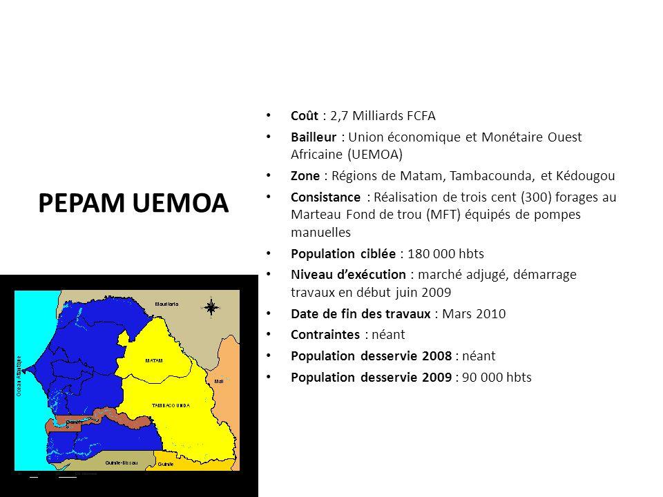 PEPAM UEMOA Coût : 2,7 Milliards FCFA Bailleur : Union économique et Monétaire Ouest Africaine (UEMOA) Zone : Régions de Matam, Tambacounda, et Kédoug