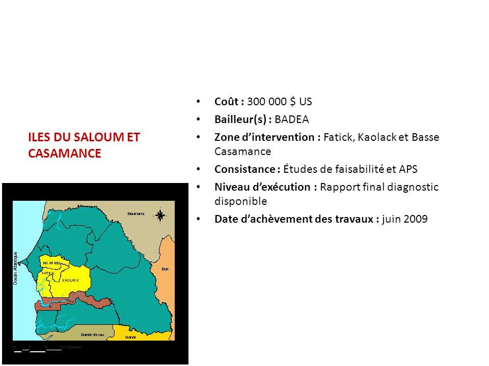 ILES DU SALOUM ET CASAMANCE Coût : 300 000 $ US Bailleur(s) : BADEA Zone d'intervention : Fatick, Kaolack et Basse Casamance Consistance : Études de f