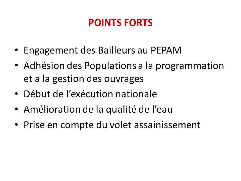 POINTS FORTS Engagement des Bailleurs au PEPAM Adhésion des Populations a la programmation et a la gestion des ouvrages Début de l'exécution nationale