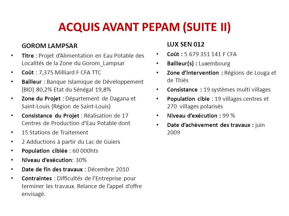 ACQUIS AVANT PEPAM (SUITE II) GOROM LAMPSAR Titre : Projet d'Alimentation en Eau Potable des Localités de la Zone du Gorom_Lampsar Coût : 7,375 Millia
