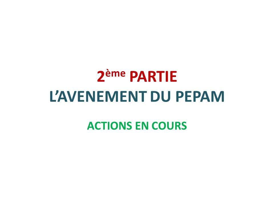 2 ème PARTIE L'AVENEMENT DU PEPAM ACTIONS EN COURS