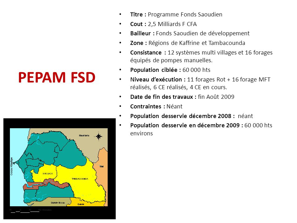 PEPAM BID TOUBA Coût : 6,380 milliards Bailleur(s) : BID (85%) et Sénégal (15%) Zone d'intervention : Village de Touba (Zone centre) Consistance : – 5 CE de 1000 m3 dont 4 sur 20 m et 1 sur 25 m et ouvrages annexes ; – 100 km de réseau principal à réhabiliter – 1 forage à gros débit en remplacement du F2 – 9 équipements d'exhaure – Animation – sensibilisation (nouveau système de gestion) Population cible : 500 000 hbts Niveau d'exécution : 3 CE de 1000 m3 sur 20 en cours d'exécution Date d'achèvement des travaux : juin 2010 Les contraintes : longueur des procédures d'approbation des marchés et difficulté envisagée dans la mise en œuvre d'un nouveau modèle de gestion de l'eau basé sur le paiement au volume.