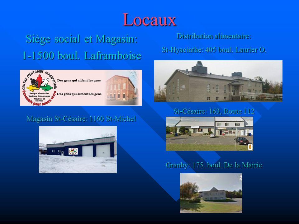 Locaux Siège social et Magasin: 1-1500 boul. Laframboise Magasin St-Césaire: 1160 St-Michel Distribution alimentaire: St-Hyacinthe: 405 boul. Laurier