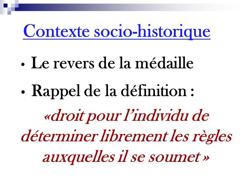 Le revers de la médaille Rappel de la définition : «droit pour l'individu de déterminer librement les règles auxquelles il se soumet » Contexte socio-historique