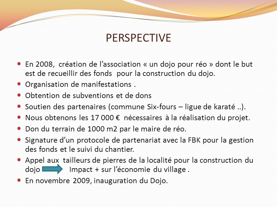 PERSPECTIVE En 2008, création de l'association « un dojo pour réo » dont le but est de recueillir des fonds pour la construction du dojo. Organisation