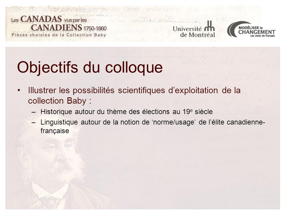 Illustrer les possibilités scientifiques d'exploitation de la collection Baby : –Historique autour du thème des élections au 19 e siècle –Linguistique autour de la notion de 'norme/usage' de l'élite canadienne- française
