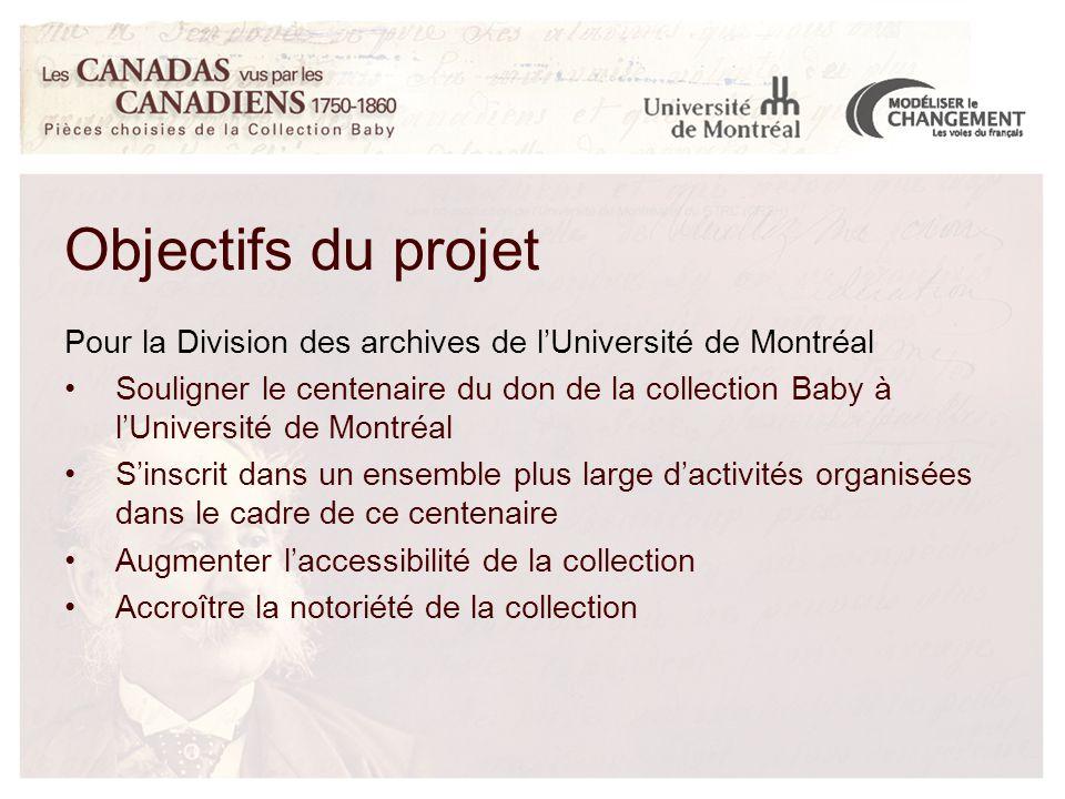 Pour la Division des archives de l'Université de Montréal Souligner le centenaire du don de la collection Baby à l'Université de Montréal S'inscrit dans un ensemble plus large d'activités organisées dans le cadre de ce centenaire Augmenter l'accessibilité de la collection Accroître la notoriété de la collection Objectifs du projet