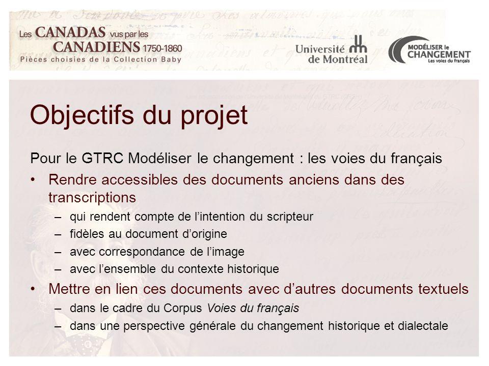 Objectifs du projet Pour le GTRC Modéliser le changement : les voies du français Rendre accessibles des documents anciens dans des transcriptions –qui