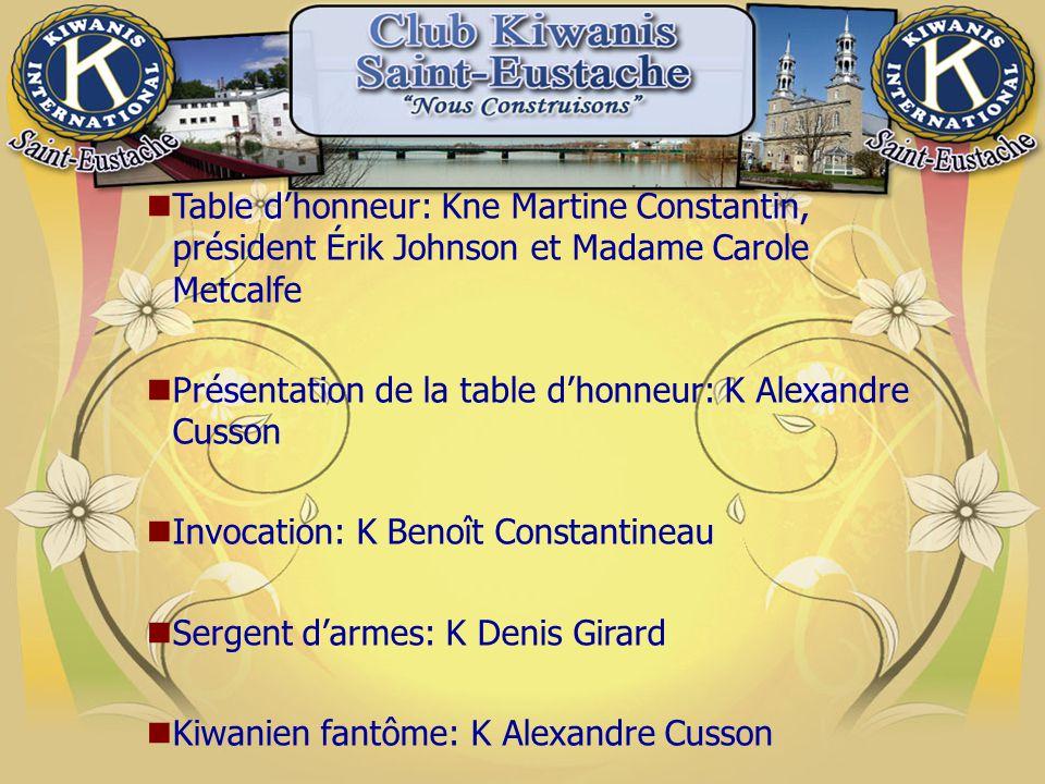 Table d'honneur: Kne Martine Constantin, président Érik Johnson et Madame Carole Metcalfe Présentation de la table d'honneur: K Alexandre Cusson Invoc
