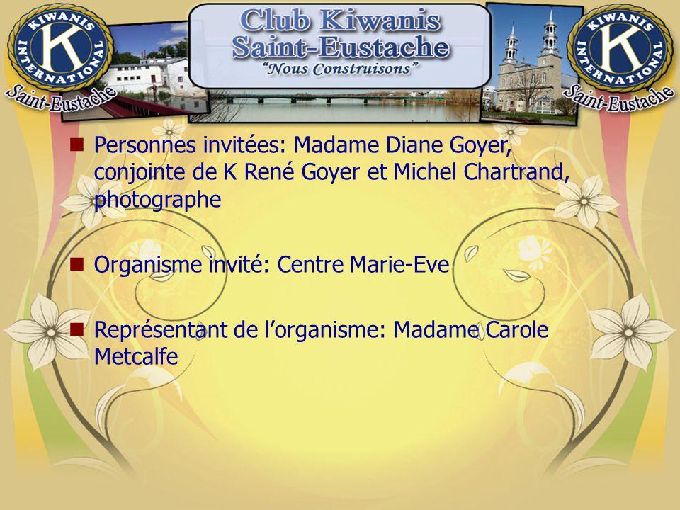 Personnes invitées: Madame Diane Goyer, conjointe de K René Goyer et Michel Chartrand, photographe Organisme invité: Centre Marie-Eve Représentant de l'organisme: Madame Carole Metcalfe