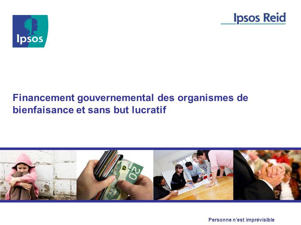 Personne n'est imprévisible Financement gouvernemental des organismes de bienfaisance et sans but lucratif