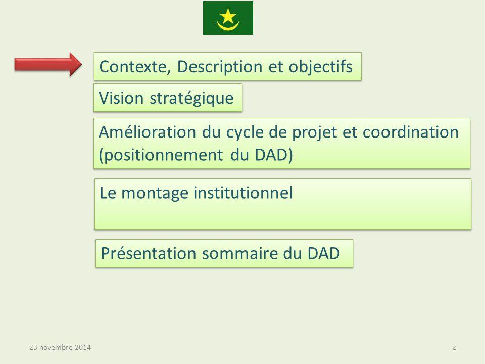 23 novembre 20142 Contexte, Description et objectifs Vision stratégique Amélioration du cycle de projet et coordination (positionnement du DAD) Le montage institutionnel Présentation sommaire du DAD