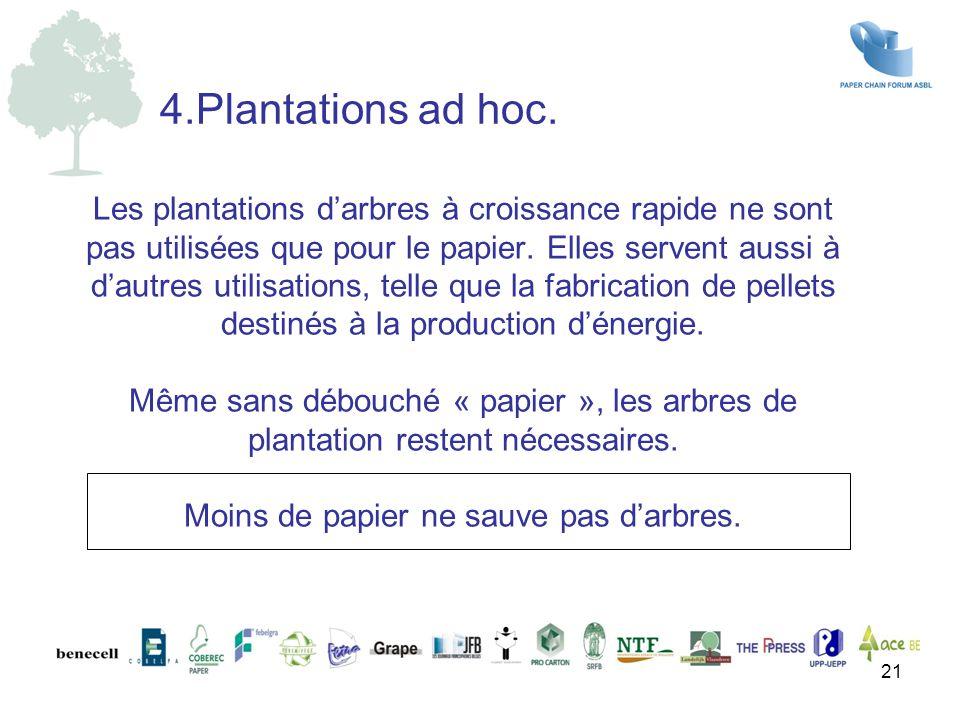 Les plantations d'arbres à croissance rapide ne sont pas utilisées que pour le papier. Elles servent aussi à d'autres utilisations, telle que la fabri
