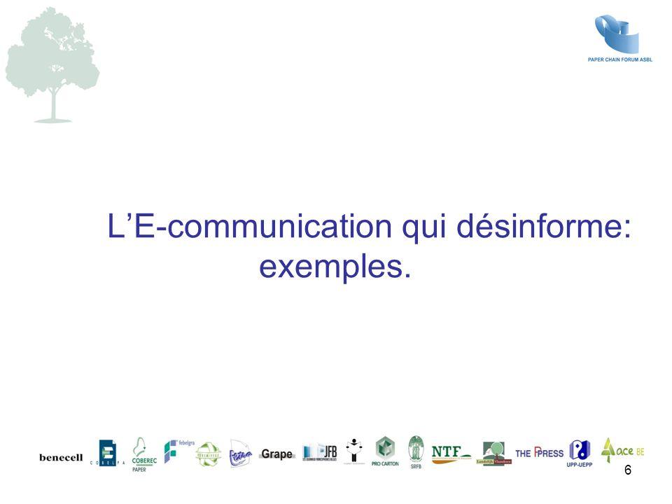 6 L'E-communication qui désinforme: exemples.