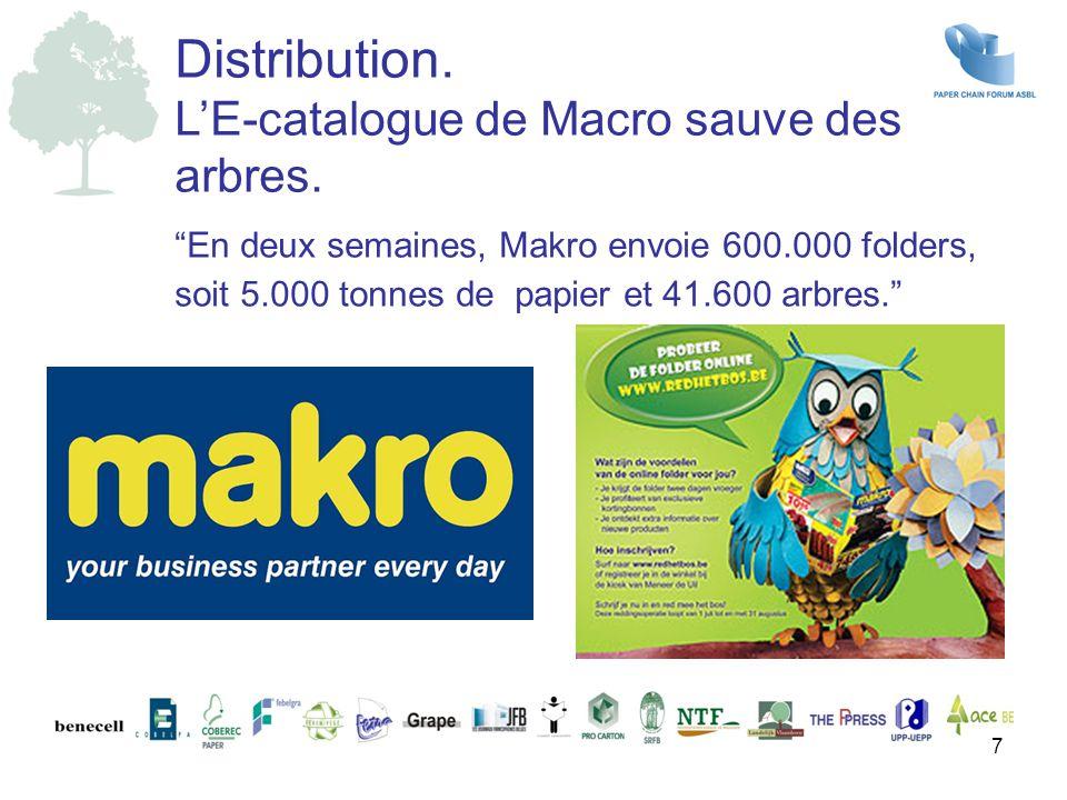 """""""En deux semaines, Makro envoie 600.000 folders, soit 5.000 tonnes de papier et 41.600 arbres."""" Distribution. L'E-catalogue de Macro sauve des arbres."""