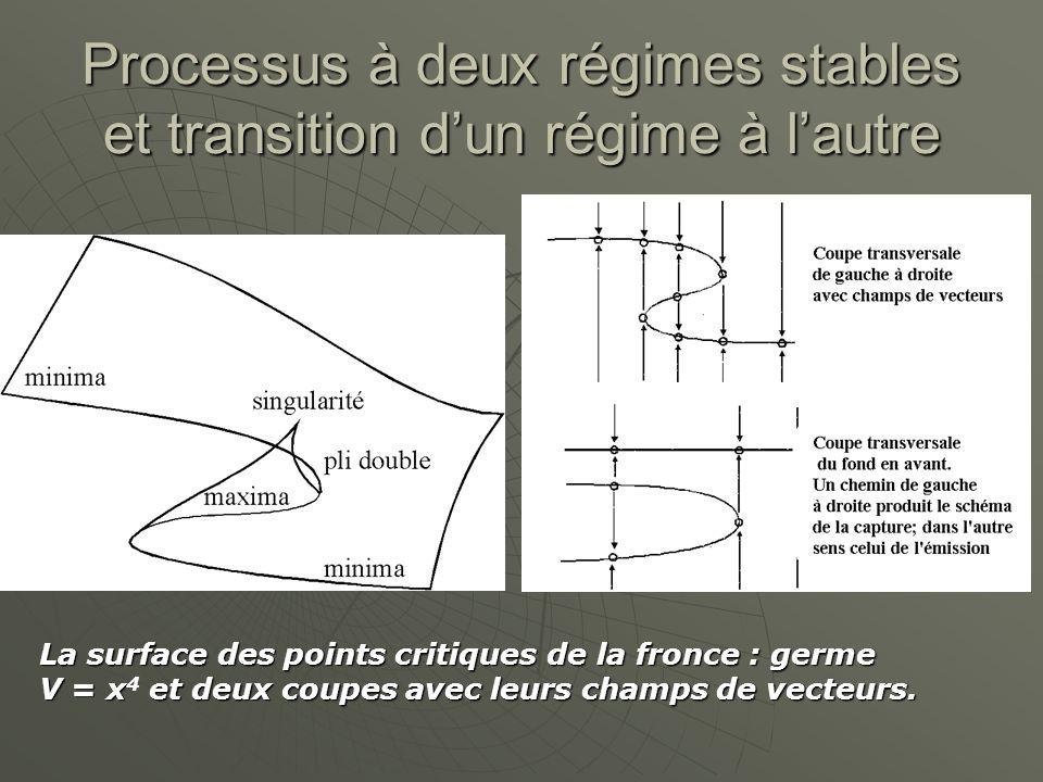 Processus à deux régimes stables et transition d'un régime à l'autre La surface des points critiques de la fronce : germe V = x et deux coupes avec leurs champs de vecteurs.