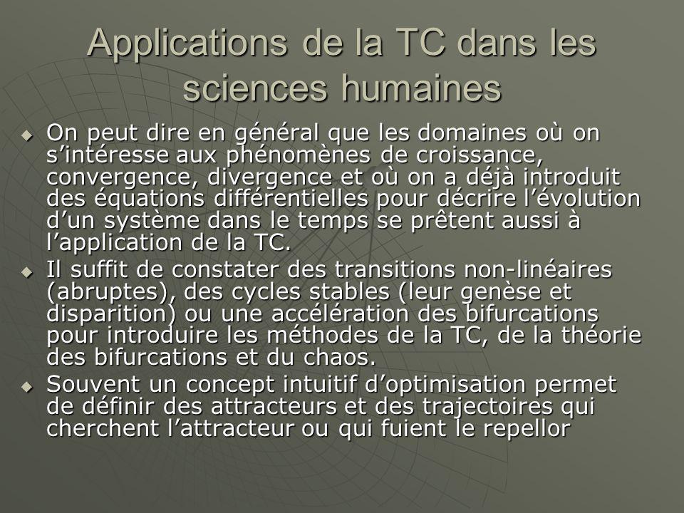 Applications de la TC dans les sciences humaines  On peut dire en général que les domaines où on s'intéresse aux phénomènes de croissance, convergence, divergence et où on a déjà introduit des équations différentielles pour décrire l'évolution d'un système dans le temps se prêtent aussi à l'application de la TC.