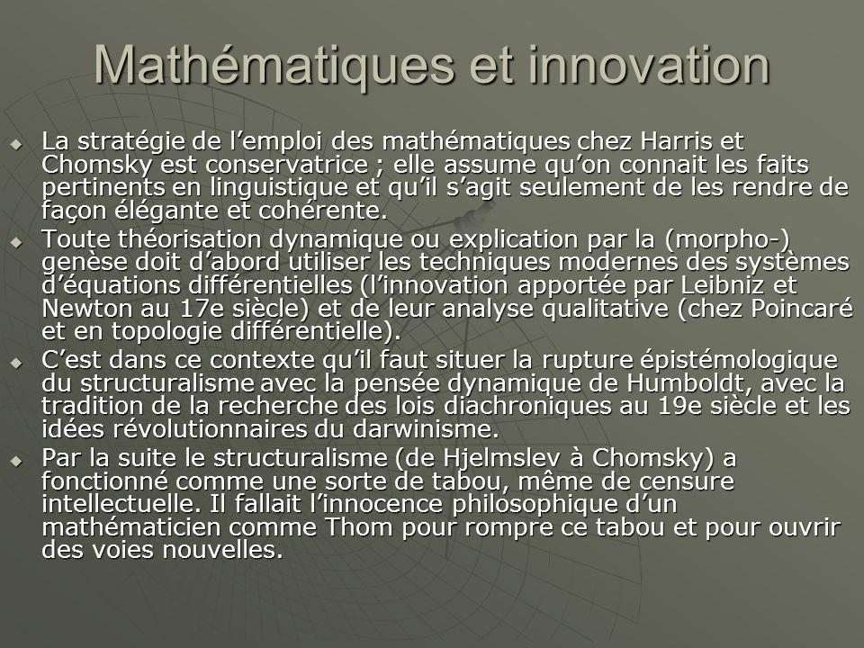 Mathématiques et innovation  La stratégie de l'emploi des mathématiques chez Harris et Chomsky est conservatrice ; elle assume qu'on connait les faits pertinents en linguistique et qu'il s'agit seulement de les rendre de façon élégante et cohérente.