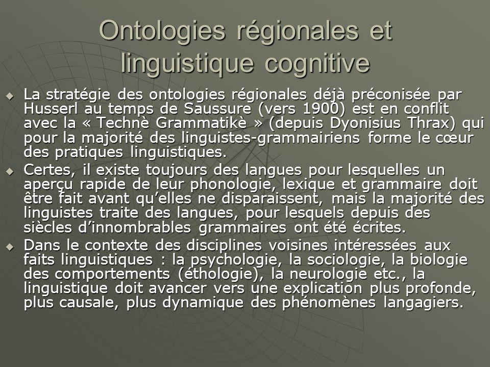 Ontologies régionales et linguistique cognitive  La stratégie des ontologies régionales déjà préconisée par Husserl au temps de Saussure (vers 1900) est en conflit avec la « Technè Grammatikè » (depuis Dyonisius Thrax) qui pour la majorité des linguistes-grammairiens forme le cœur des pratiques linguistiques.