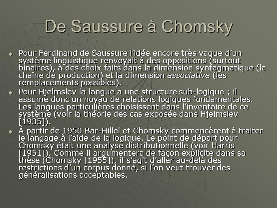 De Saussure à Chomsky  Pour Ferdinand de Saussure l'idée encore très vague d'un système linguistique renvoyait à des oppositions (surtout binaires), à des choix faits dans la dimension syntagmatique (la chaîne de production) et la dimension associative (les remplacements possibles).