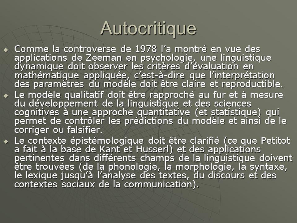 Autocritique  Comme la controverse de 1978 l'a montré en vue des applications de Zeeman en psychologie, une linguistique dynamique doit observer les