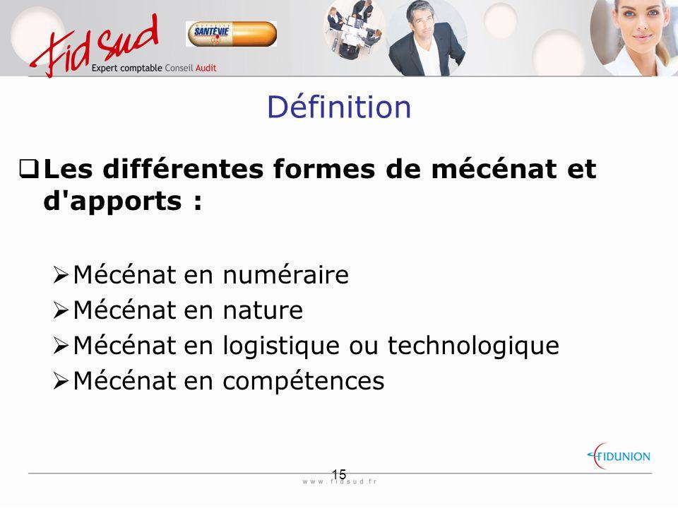 15 Définition  Les différentes formes de mécénat et d apports :  Mécénat en numéraire  Mécénat en nature  Mécénat en logistique ou technologique  Mécénat en compétences